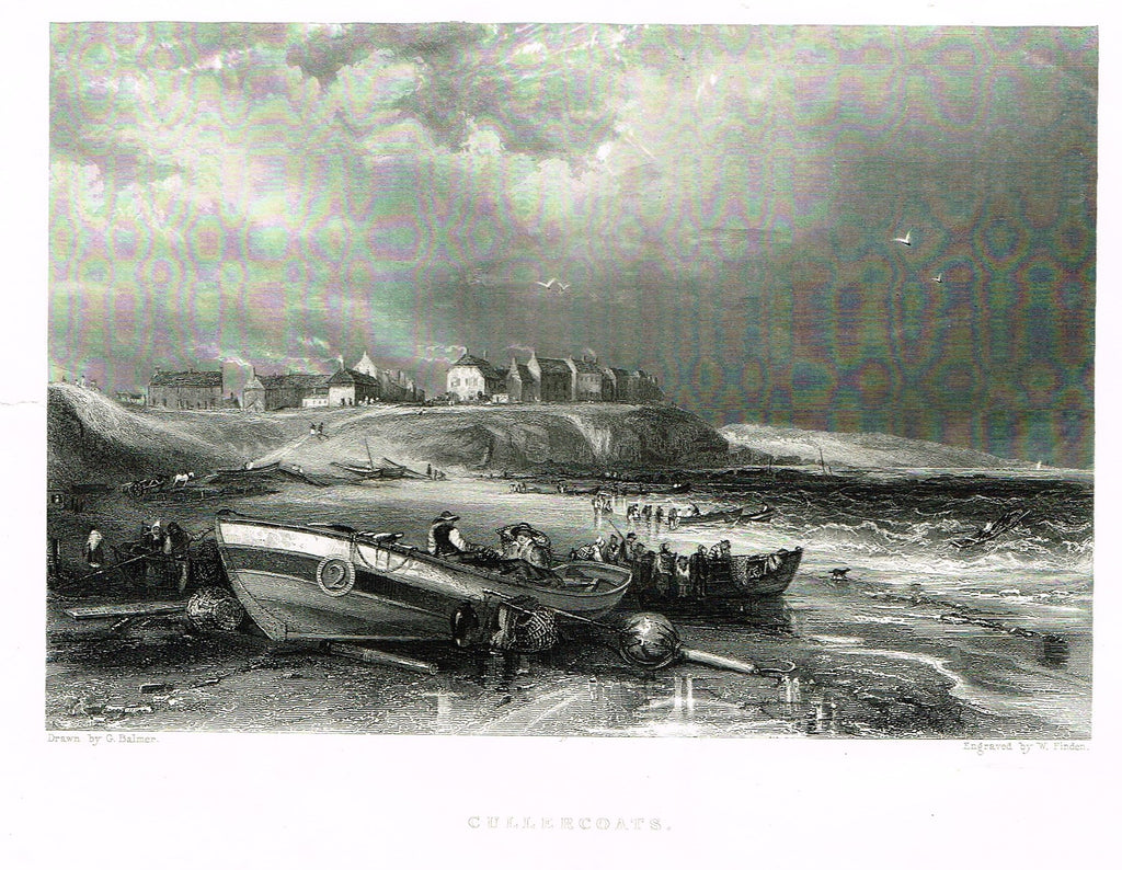 "Marine Print - Balmer's ""CULLERCOATS"" Engraved by Finden - Steel Engraving - c1840"
