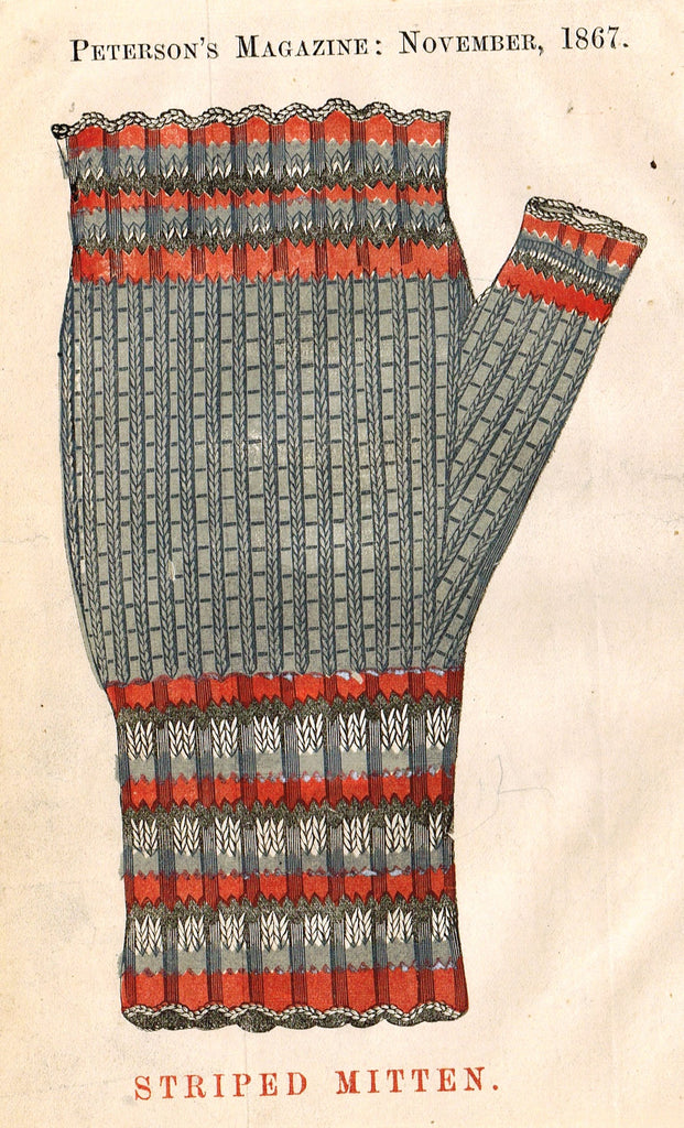 "Peterson's Magazine - ""STRIPED MITTEN"" - Colored Lithograph - 1867"