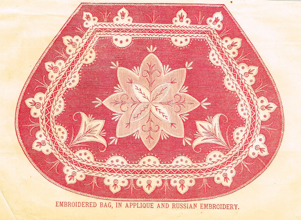 Peterson's Magazine - EMBROIDERED BAG, IN APPLIQUE & RUSSIAN EMBROIDERY - Col Litho - 1867
