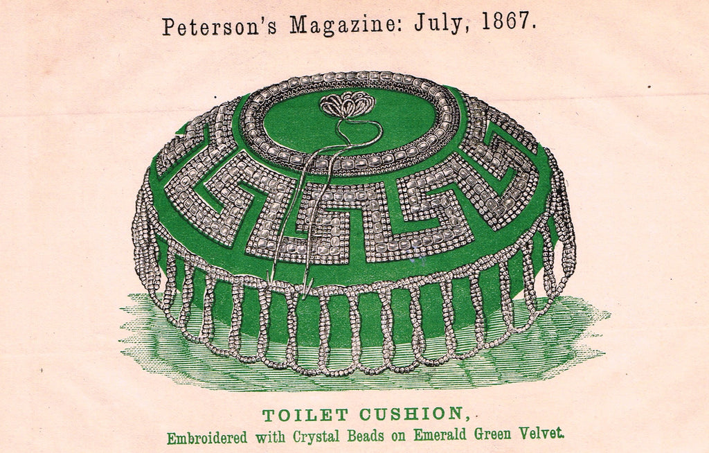 "Peterson's Magazine - ""TOILET CUSHION"" - Colored Lithograph - 1867"