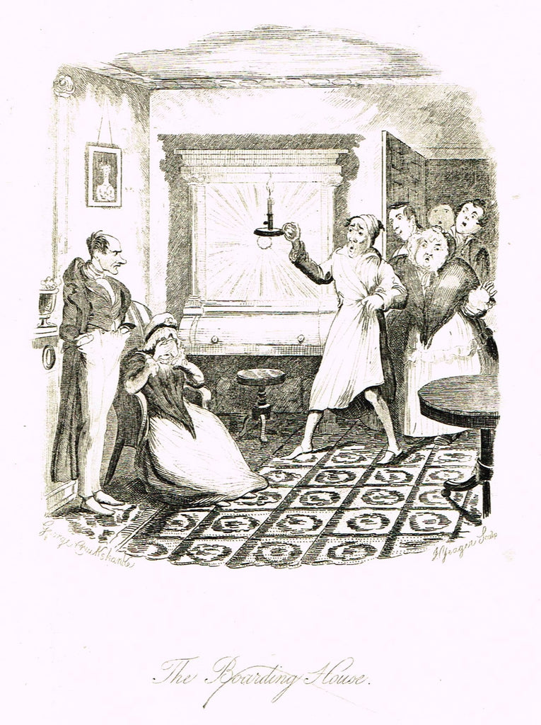 "Crukshanke's 'Sketches by Boz' from Dickens - ""BOARDING HOUSE"" - Lithograph - 1839"