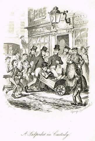 "Crukshanke's 'Sketches by Boz' from Dickens - ""A PICKPOCKET IN CUSTODY"" - Lithograph - 1839"