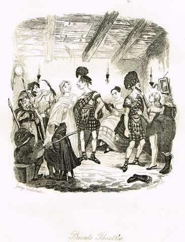 "Crukshanke's 'Sketches by Boz' from Dickens - ""PRIVATE THEATRES"" - Lithograph - 1839"