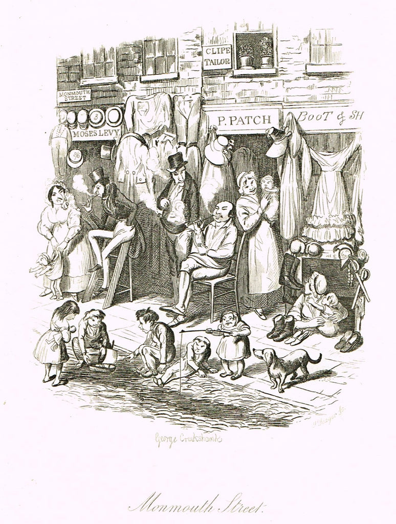 "Crukshanke's 'Sketches by Boz' from Dickens - ""MONMOUTH STREET"" - Lithograph - 1839"
