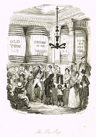 "Crukshanke's 'Sketches by Boz' from Dickens - ""THE GIN SHOP"" - Lithograph - 1839"