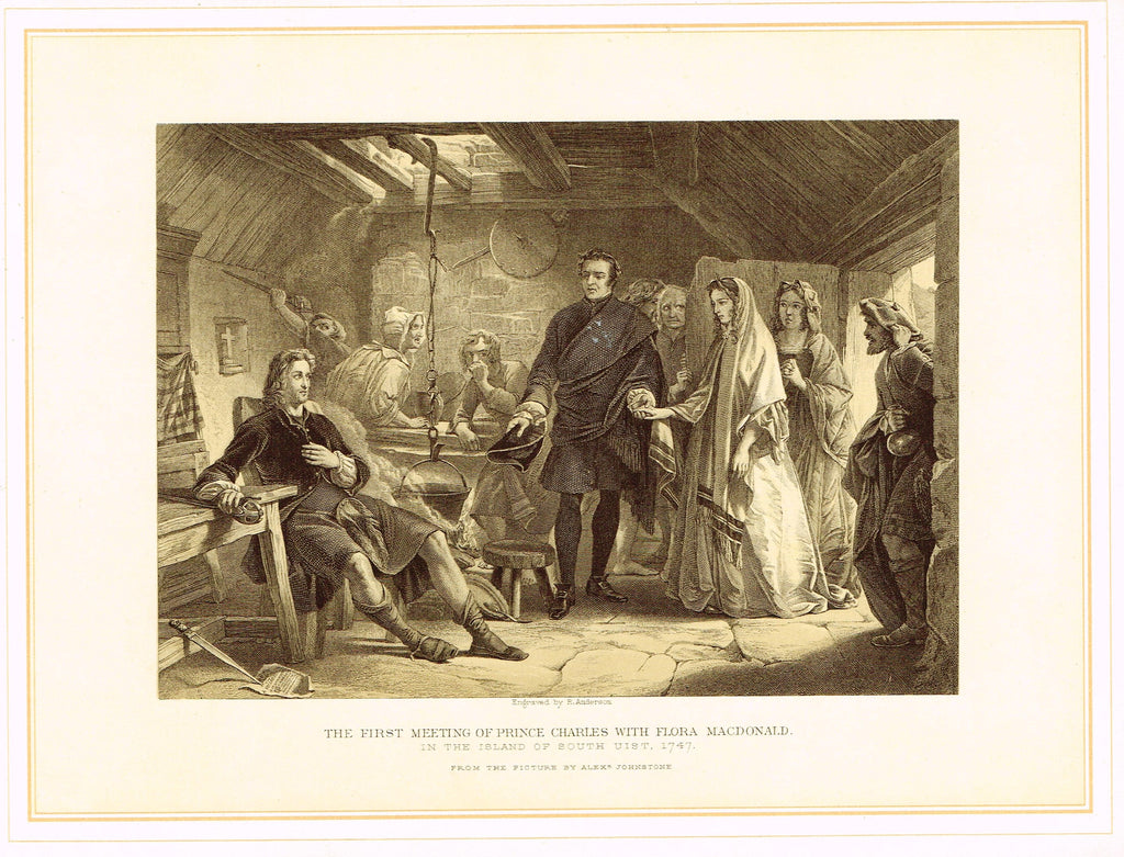 Archer's - FIRST MEETING OF PRINCE CHARLES WITH FLORA MACDONALD - Tinted Lithograph - 1880