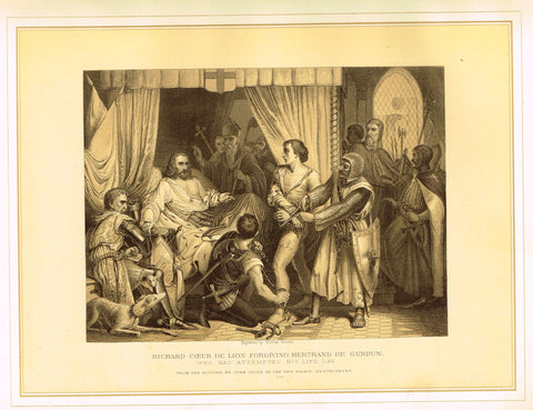 Archer's  - RICHARD COEUR DE LION FORGIVING BERTRAND DE GURDUN - Tinted Litho - 1880