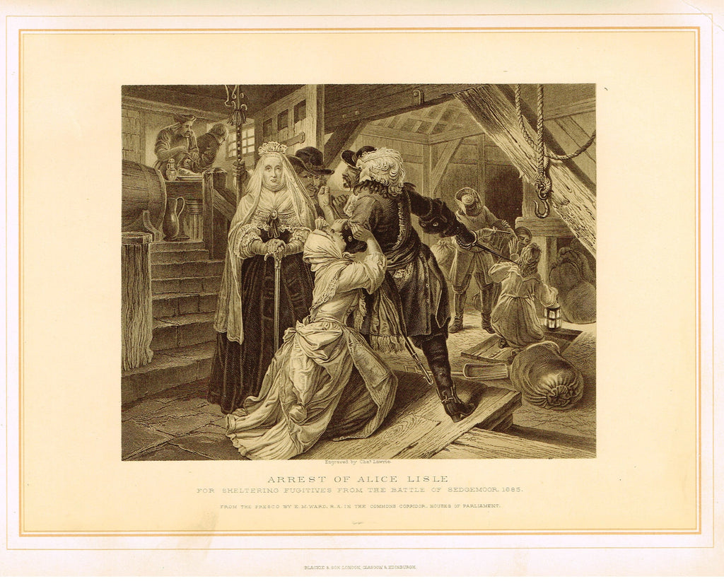 "Archer's Royal Pictures - ""ARREST OF ALICE LISLE"" - Tinted Lithograph - 1880"