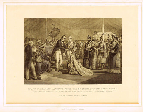 "Archer's  - GRAND DURBAR AT CAWNPORE AFTER SUPPRESSION OF SEPOY REVOLT"" - Lithograph - 1880"