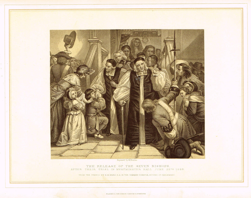 "Archer's Royal Pictures - ""THE RELEASE OF THE SEVEN BISHOPS"" - Tinted Lithograph - 1880"