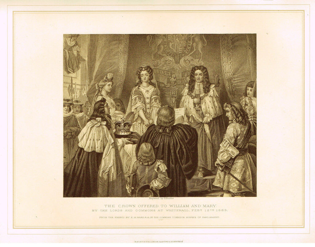 "Archer's Royal Pictures - ""THE CROWN OFFERED TO WILLIAM AND MARY"" - Tinted Lithograph - 1880"