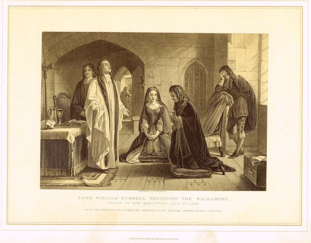 "Archer's Royal Pictures - ""LORD WILLIAM RUSSELL RECEIVING THE SACRAMENT "" - Tinted Lithograph - 1880"