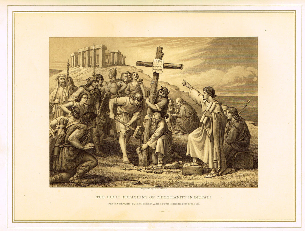 Archer's  - THE FIRST PREACHING OF CHRISTIANITY IN BRITAIN - Tinted Lithograph - 1880