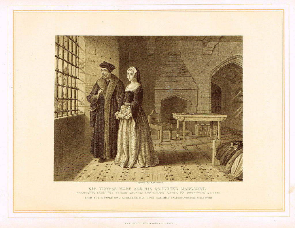 "Archer's Royal Pictures - ""SIR THOMAS MORE AND HIS DAUGHTER MARGARET"" - Tinted Lithograph - 1880"