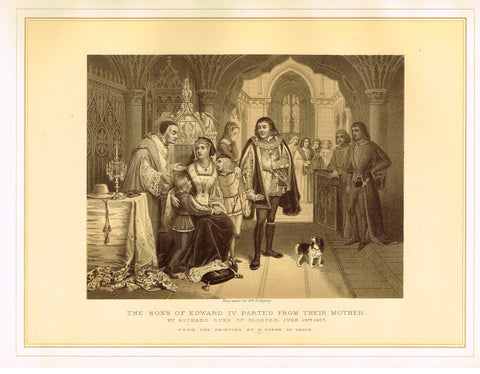 "Archer's - ""THE SONS OF EDWARD IV PARTED FROM THEIR MOTHER"" - Tinted Litho - 1880"