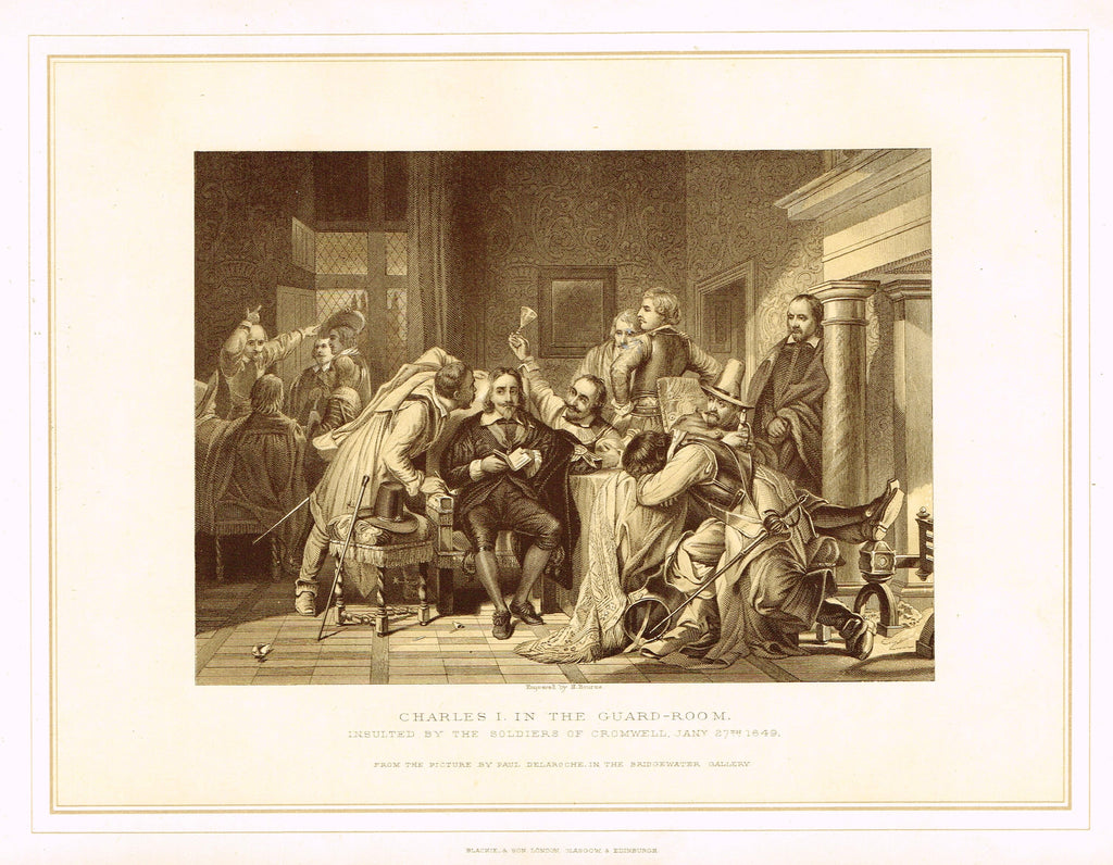"Archer's Royal Pictures - ""CHARLES I IN THE GUARD ROOM"" - Tinted Lithograph - 1880"