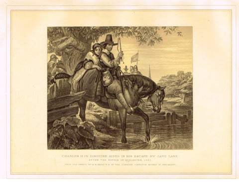 Archer's - CHARLES II IN DISGUISE AIDED IN HIS ESCAPE BY JANE LANE - Lithograph - 1880