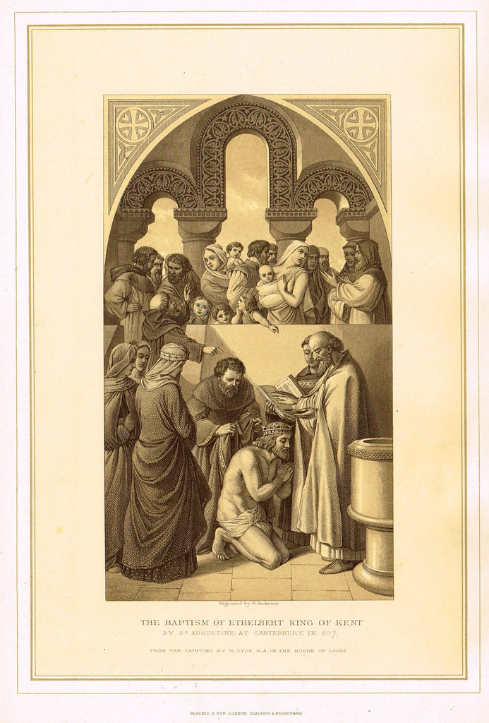 "Archer's Royal Pictures - ""THE BAPTISM OF ETHELBERT, KING OF KENT"" - Tinted Lithograph - 1880"
