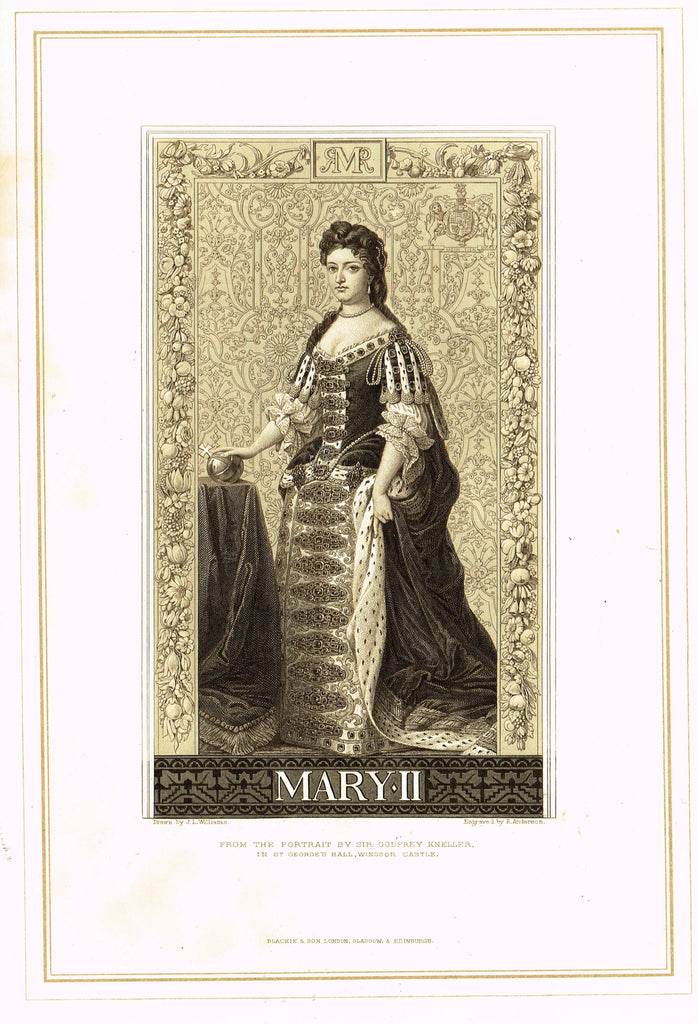"Archer's Royal Portraits - ""MARY II"" - Tinted Lithograph - 1880"