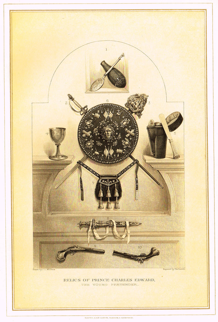 "Archer's Royal Antiquities - ""RELICS OF PRINCE CHARLES EDWARD"" - Tinted Lithograph - 1880"