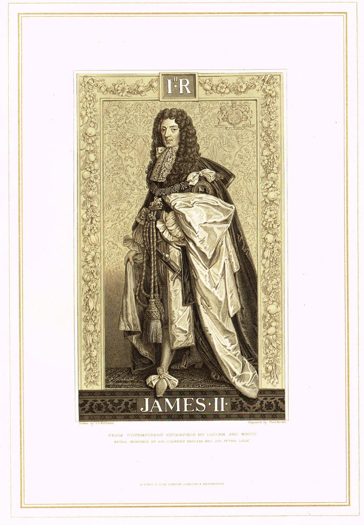 "Archer's Royal Portraits - ""JAMES II"" - Tinted Lithograph - 1880"