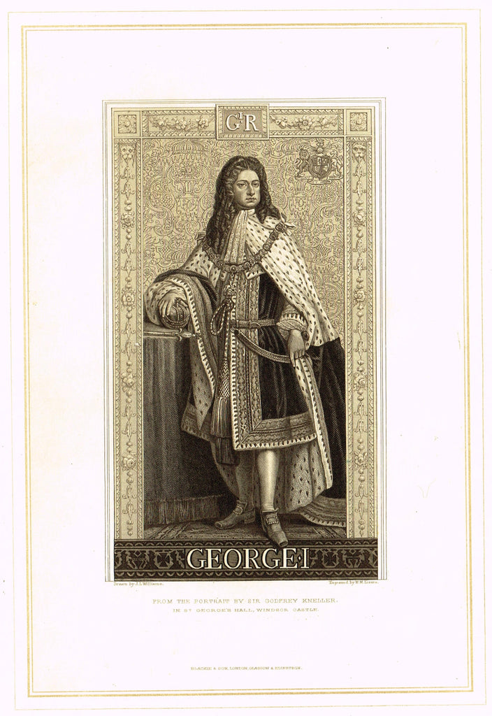 "Archer's Royal Portraits - ""GEORGE I"" - Tinted Lithograph - 1880"