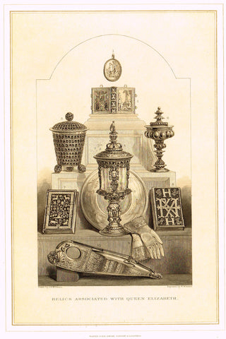 "Archer's Royal Antiquities - ""RELICS ASSOCIATED WITH QUEEN ELIZABETH"" - Tinted Lithograph - 1880"