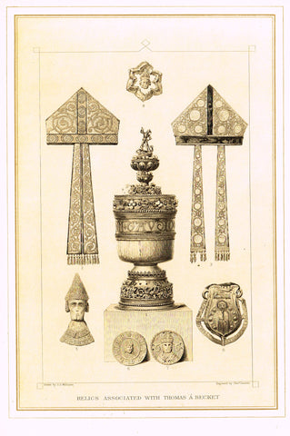 "Archer's Royal Antiquities - ""RELICS ASSOCIATED WITH THOMAS A BECKET"" - Tinted Lithograph - 1880"