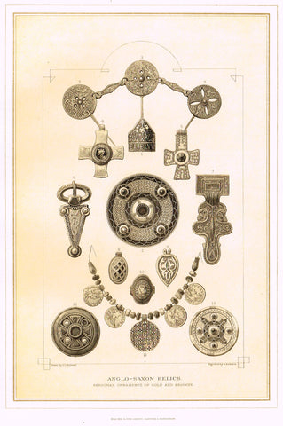 "Archer's Royal Antiquities - ""ANGLO-SAXON RELICS"" - Tinted Lithograph - 1880"