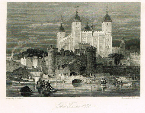 "Finden's Country Scene - ""THE TOWER - 1670"" - Steel Engraving - c1833"