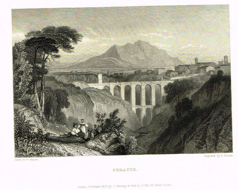 "Finden's Country Scene - ""SORACTE"" - Steel Engraving - c1833"