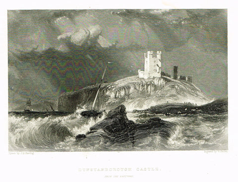 "Finden's Country Scene - ""DUNSTANBOROUGH CASTLE (FROM THE EASTWARD)"" - Steel Engraving - c1833"
