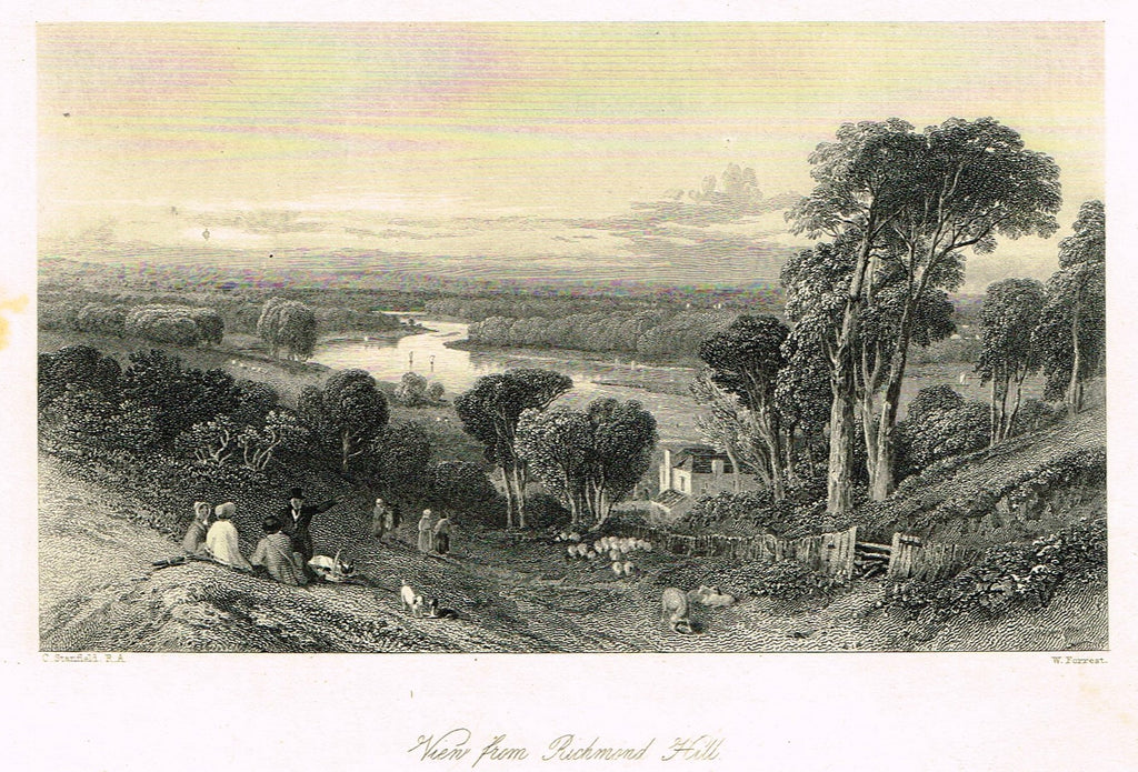 "Finden's Country Scene - ""VIEW FROM RICHMOND HILL"" - Steel Engraving - c1833"