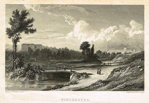 "Finden's Country Scene - ""WINCHESTER"" - Steel Engraving - c1833"