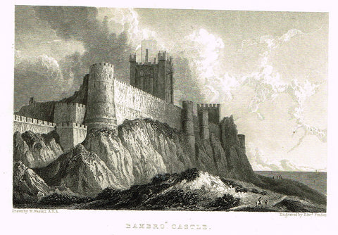 "Finden's Country Scene - ""BAMBRO CASTLE"" - Steel Engraving - c1833"