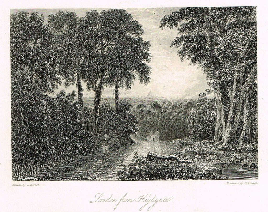 "Finden's Country Scene - ""LONDON FROM HIGHGATE"" - Steel Engraving - c1833"