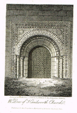 "Misc. Miniature Scenes - ""W. DOOR OF KENILWORTH CHURCH"" - Engraving - c1815"