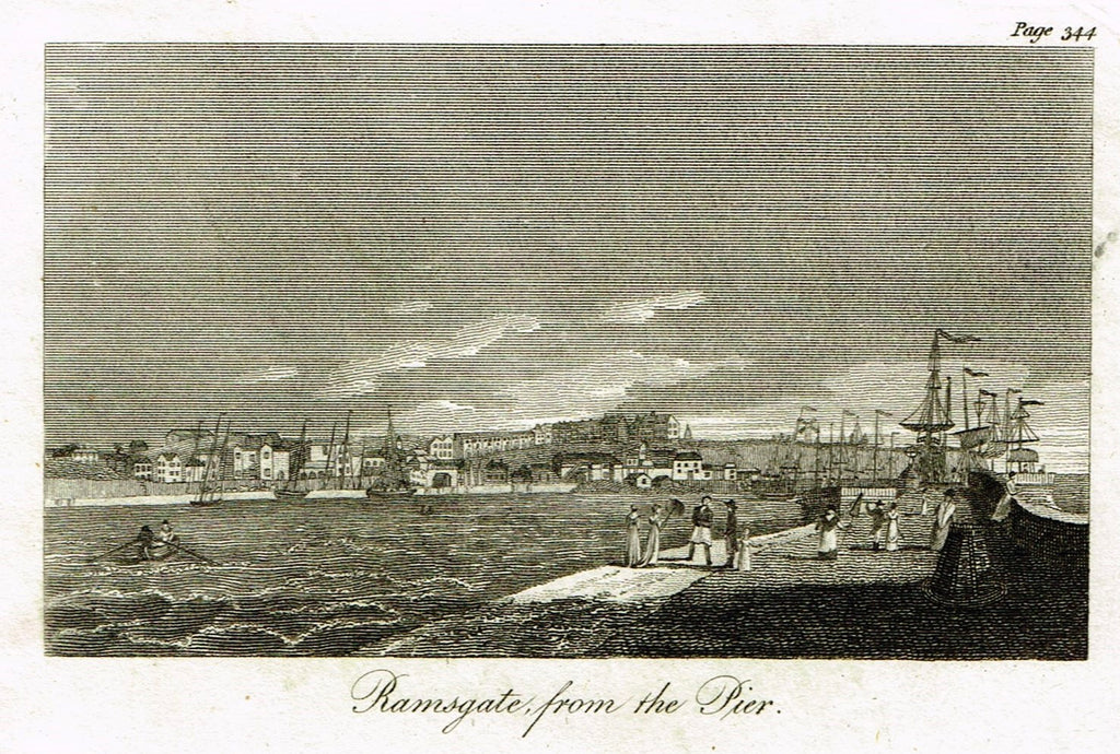 "Misc. Miniature Scenes - ""RAMSGATE FROM THE PIER"" - Engraving - c1803"