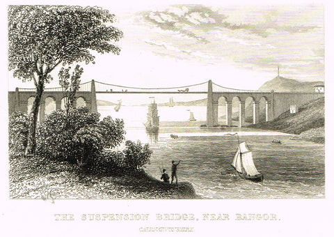 "Misc. Miniature Scenes - ""THE SUSPENSION BRIDGE, NEAR BANGOR, CAERNARVONSHIRE"" - Engraving - c1803"