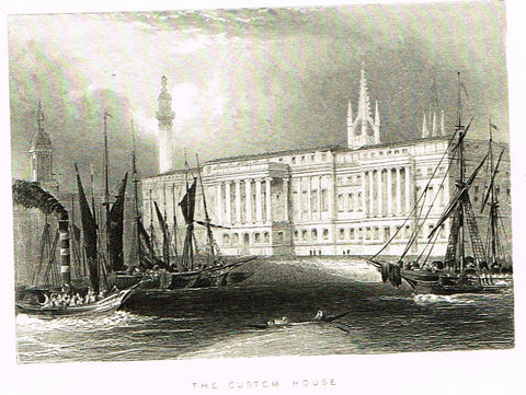 "Misc. Miniature Scenes - ""THE CUSTOM HOUSE"" - Engraving - c1850"