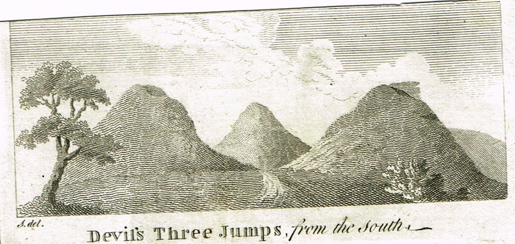 "Misc. Miniature Scenes - ""DEVIL'S THREE JUMPS FROM THE SOUTH"" - Engraving - c1820"