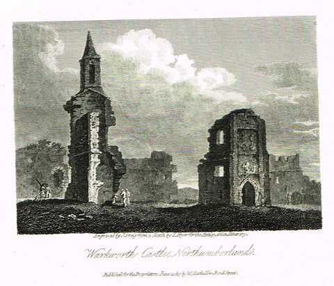 "Misc. Miniature Scenes - ""WARKWORTH CASTLE, NORTHUMBERLAND"" - Engraving - c1815"
