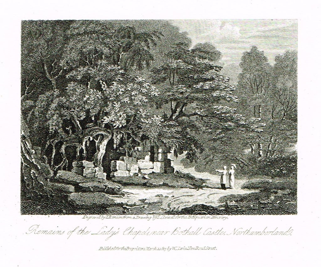 "Misc. Miniature Scenes - ""REMAINS OF THE LADY'S CHAPEL, NORTHUMBERLAND"" - Engraving - c1815"