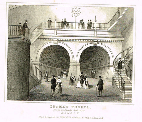 "Dugdale's Miniatures - ""THAMES TUNNEL"" - Engraving - c1830"