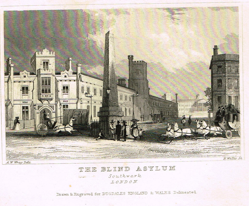 "Dugdale's Miniatures - ""THE BLIND ASYLUM, SOUTHWARK"" - Engraving - c1830"