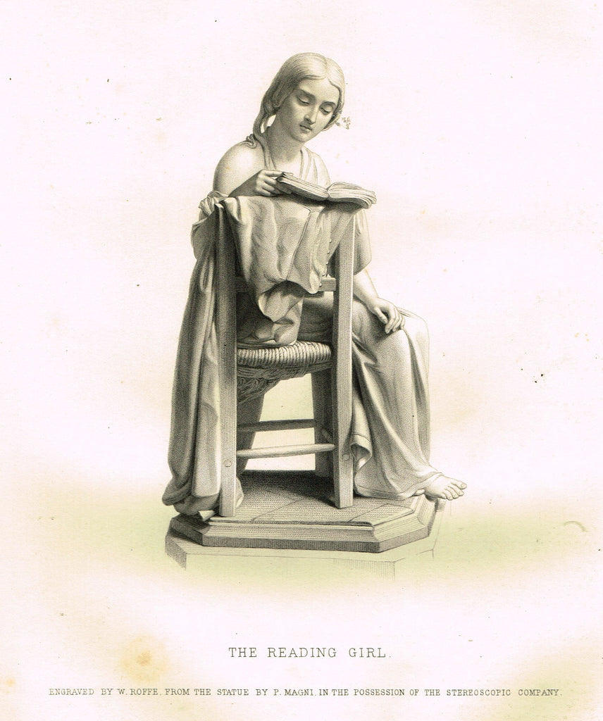 "Art Journal's ""THE READING GIRL"" Steel Engraving by W. Roffe - 1871"