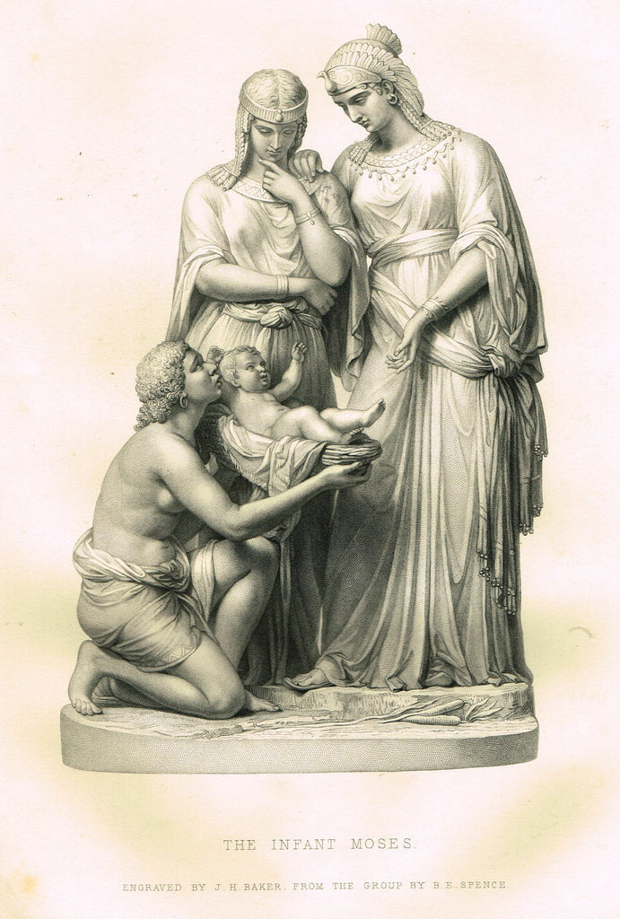 "Art Journal's ""THE INFANT MOSES"" Steel Engraving by J.H. Baker - 1871"