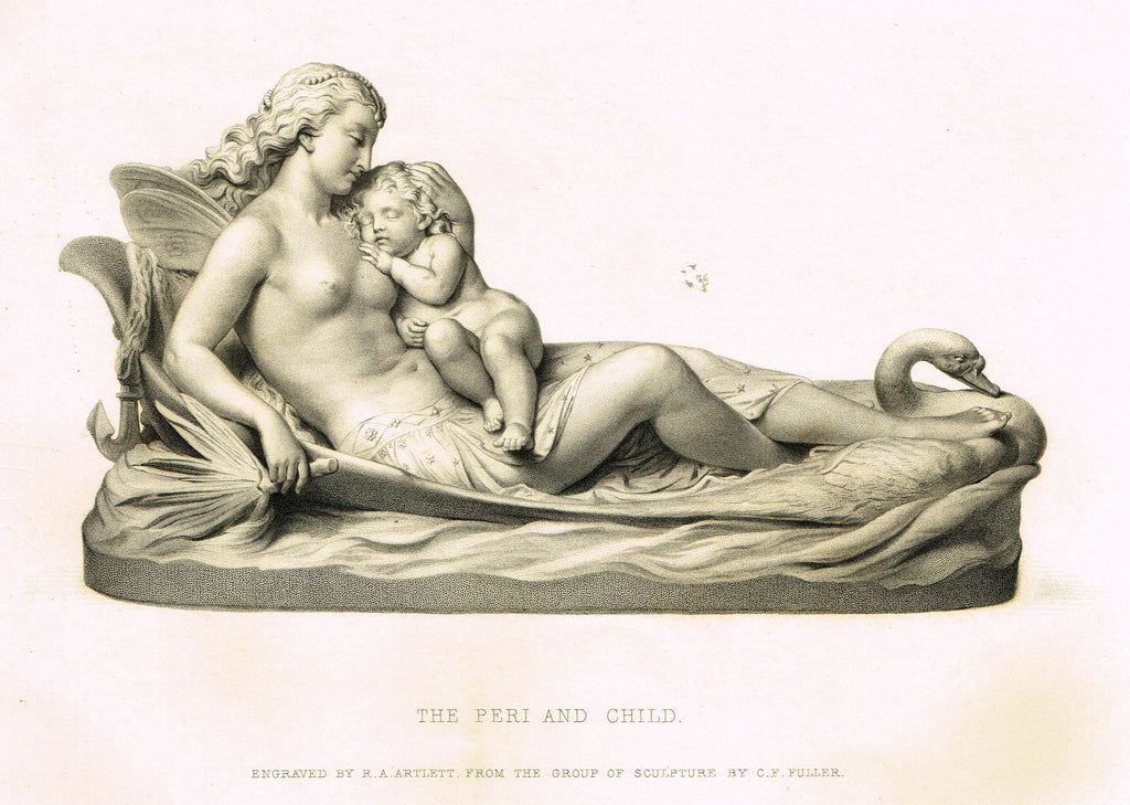 "Art Journal's ""THE PERI AND CHILD"" - Steel Engraving by R.A. Artlett - 1871"