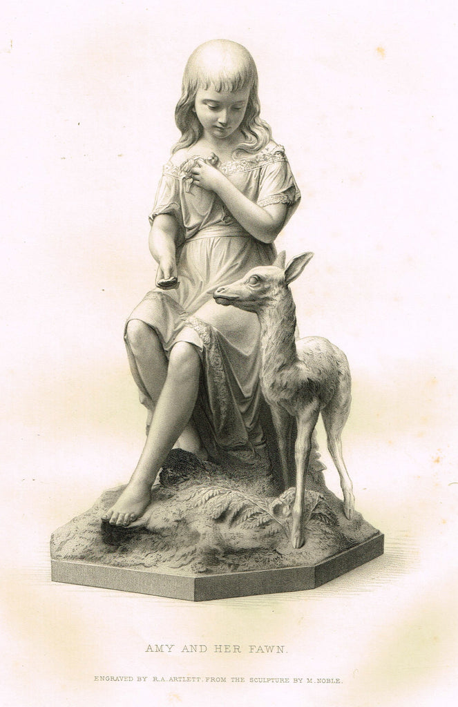 "Art Journal's ""AMY AND HER FAWN"" - Steel Engraving by R.A. Artlett - 1871"