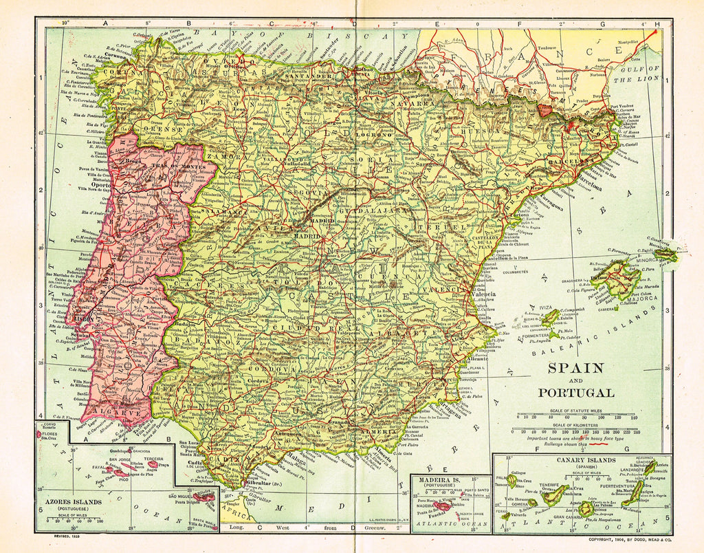 "Dodd Mead's Universal Atlas - """"SPAIN & PORTUGAL"" - Chromolithograph - 1906"